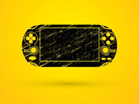 portable console: Game designed using black grunge brush graphic vector.