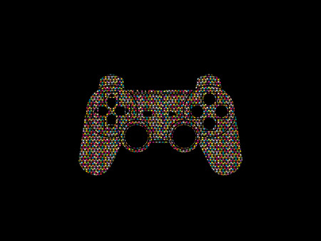 Game Joystick designed using colorful mosaic pattern graphic vector. Illustration