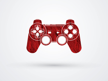 Game Joystick designed using red grunge brush graphic vector.