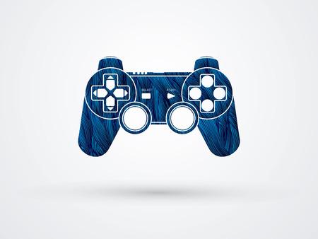 Game Joystick designed using blue grunge brush graphic vector. Ilustracje wektorowe