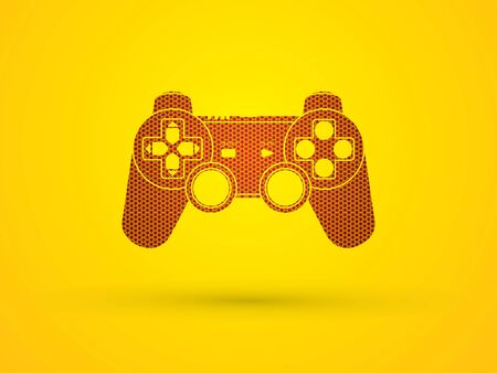 Game Joystick designed using hexagon pattern graphic vector. Illustration