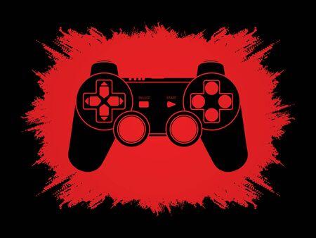 Game Joystick designed on grunge frame background graphic vector.