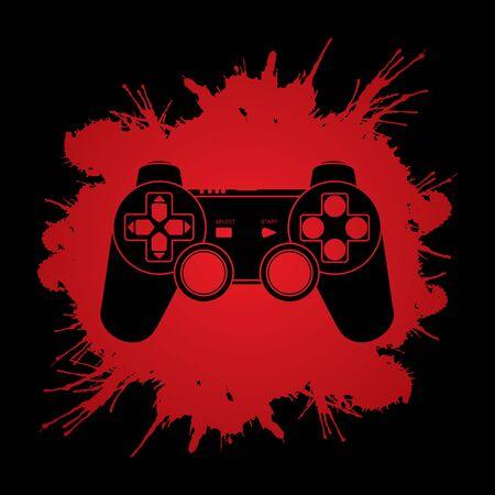 Game Joystick designed on colorful spin wheel background graphic vector. Векторная Иллюстрация