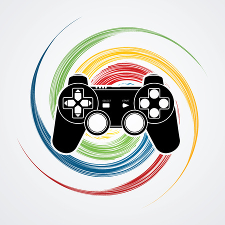 spin: Game Joystick designed on colorful spin wheel background graphic vector. Illustration