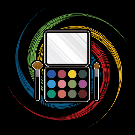 spin: Makeup Colorful Palette designed on spin wheel background graphic vector.