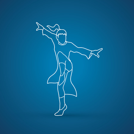 fu: Kung fu pose outline graphic vector.