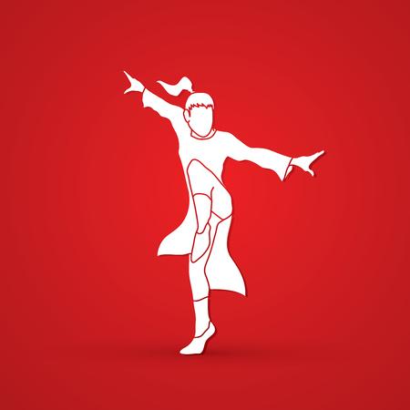 screen printing: Kung fu pose graphic vector.