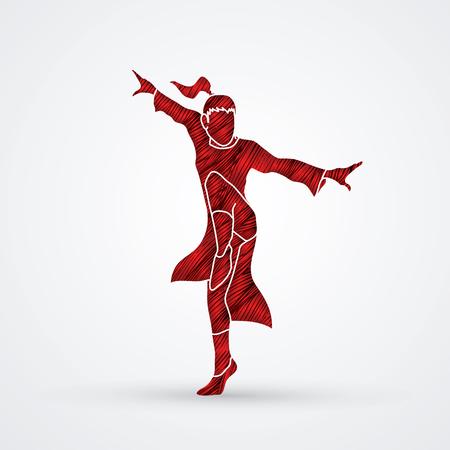 Kung fu pose designed using red grunge brush graphic vector. Illustration