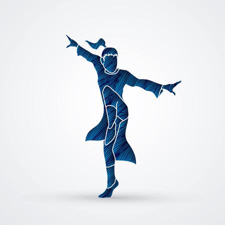 Kung fu pose designed using blue grunge brush graphic vector.