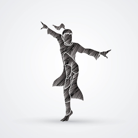 Kung fu pose designed using black grunge brush graphic vector.