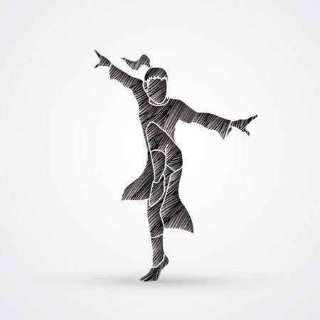 Kung fu pose designed using black grunge brush graphic vector.