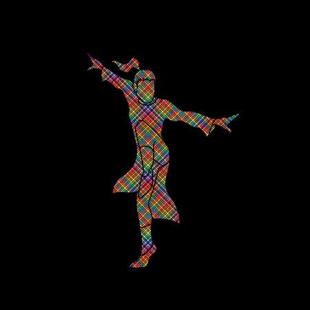fu: Kung fu pose designed using colorful pixels graphic vector. Illustration