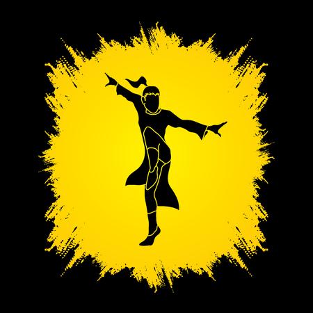 kung: Kung fu pose, designed on grunge frame background graphic vector.
