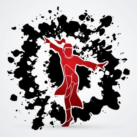 kung: Kung fu pose, designed on splatter ink background graphic vector. Illustration