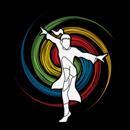 Kung fu pose, designed on grunge spin wheel background graphic vector.