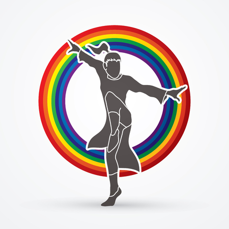 Kung fu pose, designed on line rainbows background graphic vector.