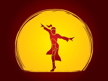 vietvodao: Kung fu pose, designed on moonlight background graphic vector.