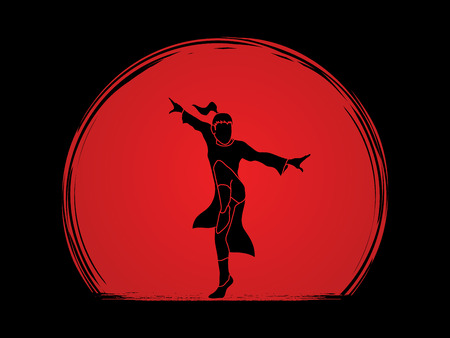 fu: Kung fu pose, designed on sunset background graphic vector. Illustration