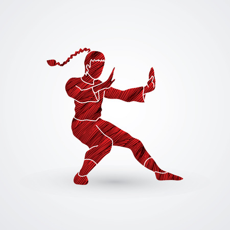 vietvodao: Kung fu pose, designed using red grunge brush graphic vector.