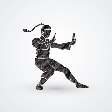vietvodao: Kung fu pose, designed using black grunge brush graphic vector.