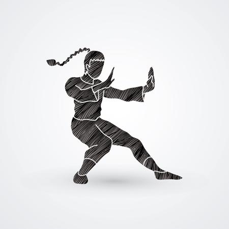 Kung fu pose, designed using black grunge brush graphic vector.