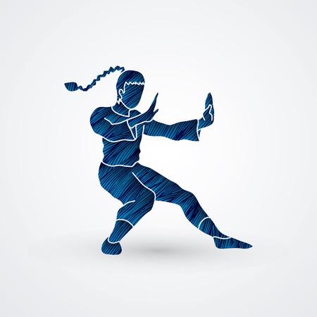 fu: Kung fu pose, designed using blue grunge brush graphic vector.