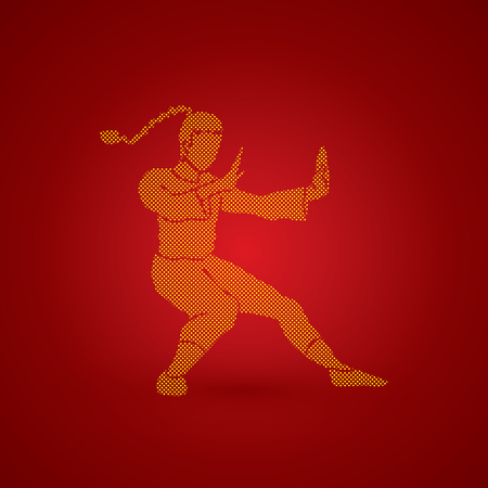 kung: Kung fu pose, designed using dots pixels graphic vector.