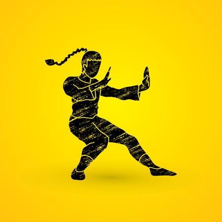 Kung fu pose, designed using grunge brush graphic vector. Illustration