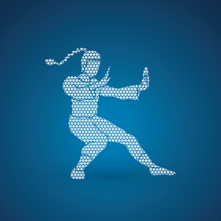Kung fu pose, designed using geometric pattern graphic vector.