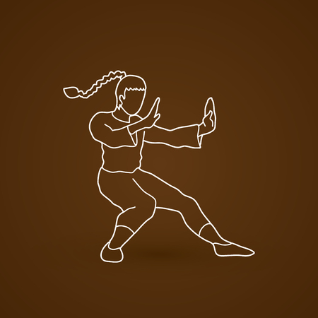 Kung fu pose graphic vector.