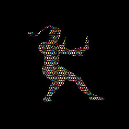 Kung fu pose, designed using colorful mosaic graphic vector. Illustration