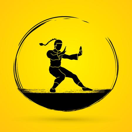 kung: Kung fu pose graphic vector.