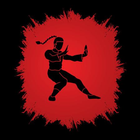 Kung fu pose, designed on grunge frame background graphic vector.