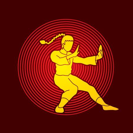 fu: Kung fu pose, designed on circle light background graphic vector. Illustration