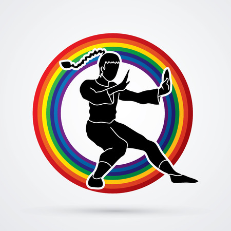 kung: Kung fu pose, designed on line rainbows background graphic vector.