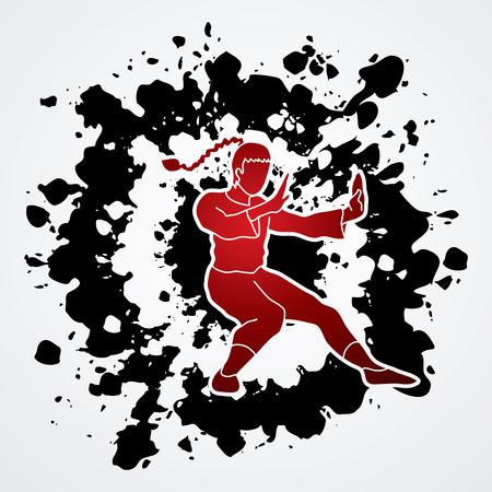 vietvodao: Kung fu pose, designed on splatter ink  background graphic vector. Illustration