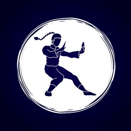 vietvodao: Kung fu pose, designed on grunge circle background graphic vector.
