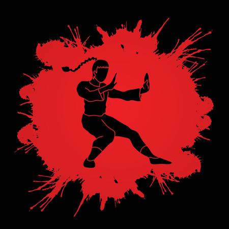 vietvodao: Kung fu pose, designed on splatter blood background graphic vector.