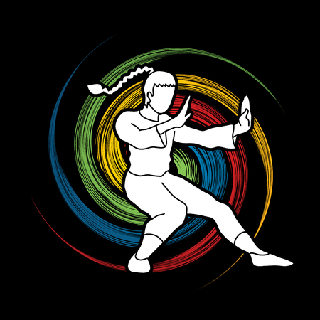 combative: Kung fu pose, designed on spin wheel background graphic vector. Illustration
