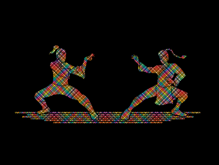 Kung Fu action ready to fight designed using colorful mosaic pattern graphic vector.