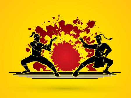 vietvodao: Kung Fu action ready to fight designed on splash ink background graphic vector.