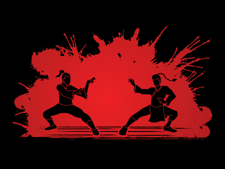 Kung Fu action ready to fight designed on splatter blood background graphic vector. Illustration