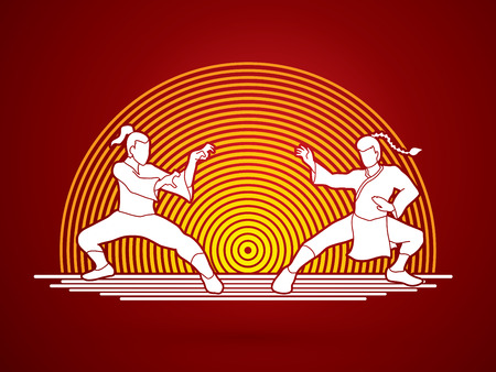 Kung Fu action ready to fight designed on line circle background graphic vector. Illustration