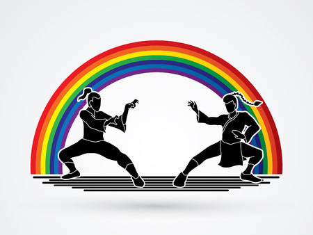 fu: Kung Fu action ready to fight designed on line rainbows background graphic vector. Illustration