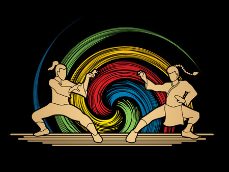 kata: Kung Fu action ready to fight designed on spin wheel background graphic vector. Illustration
