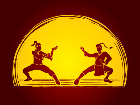 vietvodao: Kung Fu action ready to fight designed on moonlight background graphic vector.