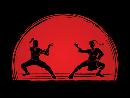vietvodao: Kung Fu action ready to fight designed on sunset background graphic vector.