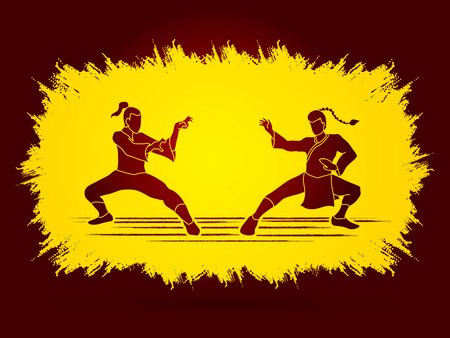 fu: Kung Fu action ready to fight designed on grunge frame background graphic vector.