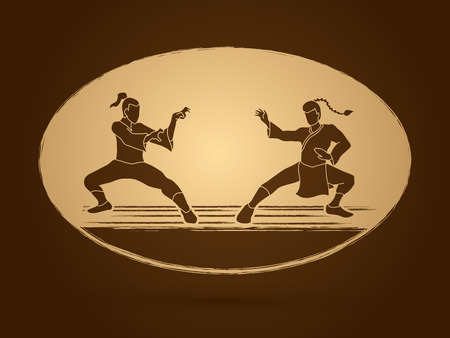 kung: Kung Fu action ready to fight graphic vector. Illustration