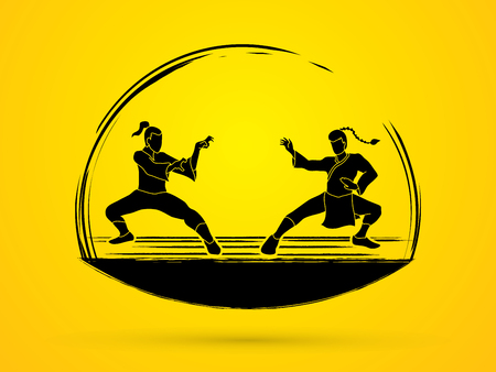 Kung Fu action ready to fight designed using black grunge brush graphic vector.